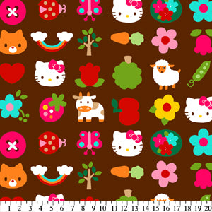 Anti-Pill Hello Kitty Flowers & Foxes Fleece F64