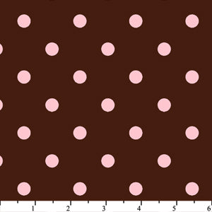 Anti Pill Chocolate Pink Dots Fleece F569