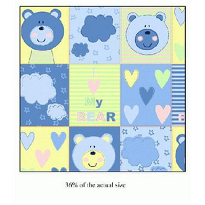 Anti-Pill Blue Bear Quilt Fleece F968