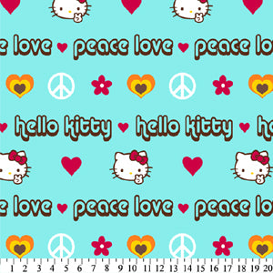Anti-Pill Hello Kitty Peace Aqua Fleece F112