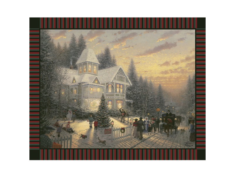 Anti-Pill Thomas Kinkade Victorian Christmas Fleece Panel F585