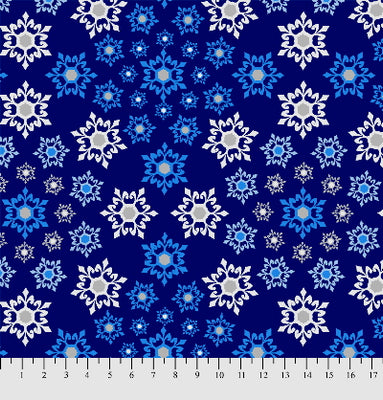 Anti-Pill Geometric Snowflakes Navy Fleece F759