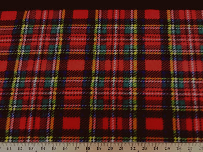 Premium Anti-Pill Stewart Plaid Red Fleece 250