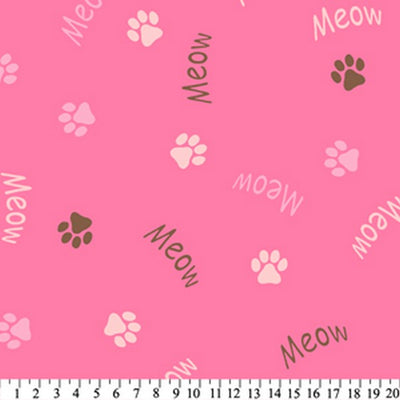 Anti-Pill Meow Paws Pink Brown Fleece F563