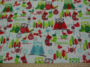Premium Anti-Pill Christmas Owls On White Fleece F1524