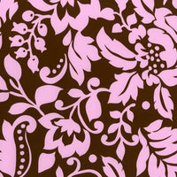 Anti-Pill Graphic Flower Brown Pink Fleece F1216