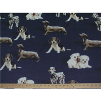 Premium Anti-Pill Dogs On Navy Fleece F1528