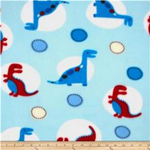 Premium Anti-Pill Dino World Blue Fleece F1412