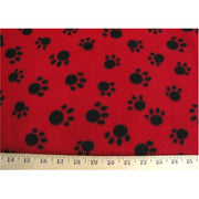 Paw Prints Red Paws Fleece MINOR COLOR RUNS