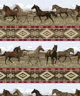 Anti-Pill Aztec Rider Horse Fleece F484