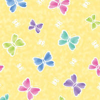 Anti Pill Rainbow Butterfly Yellow Fleece F1189