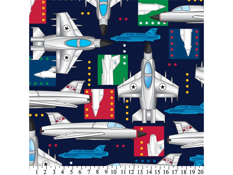 Anti-Pill Jet Airplanes Fleece F1343