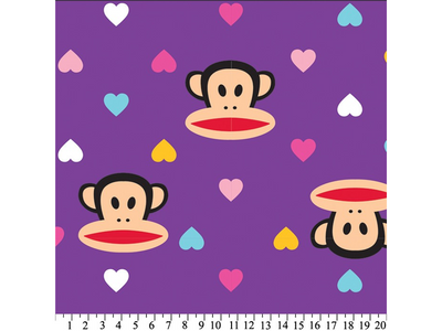 Anti-Pill Paul Frank Julius And Hearts Purple Fleece F1356