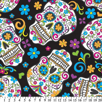 Anti-Pill Skulls Día de Muertos Black Fleece F1345