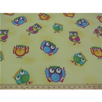 Premium Anti-Pill Owls On Yellow Fleece F1516