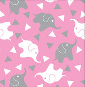 Premium Anti-Pill Elephant Confetti Pink Grey Fleece F1460