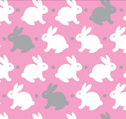 Premium Anti-Pill Bedtime Bunny Grey Pink Fleece F1465