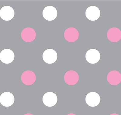Premium Anti-Pill Happy Dots Grey Pink Fleece F1470