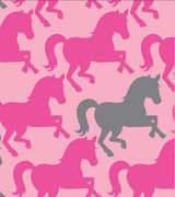 Premium Anti-Pill Pretty Horses Hot Pink Fleece F1474