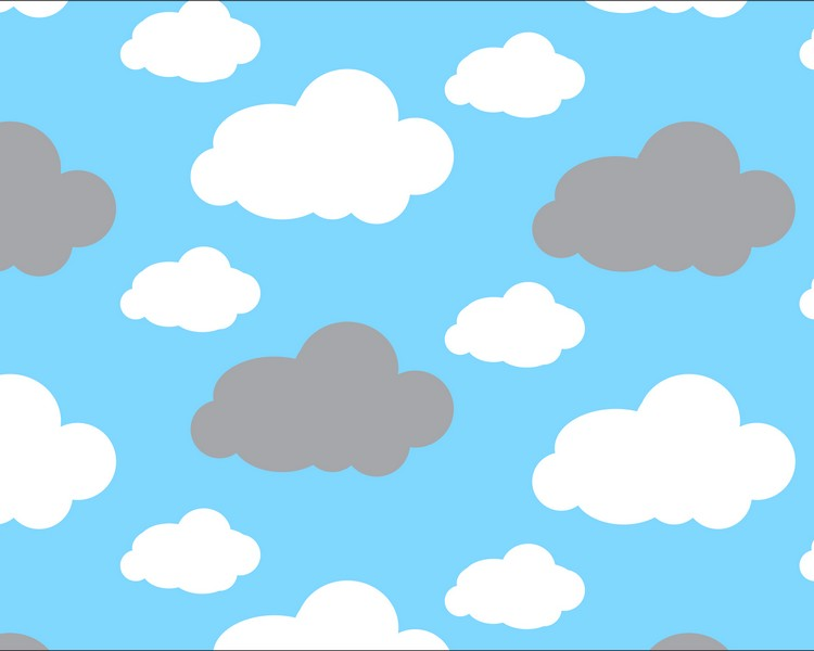 Premium Anti-Pill Dreamy Clouds Blue Fleece F1469