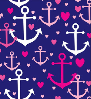 Premium Anti-Pill Anchors Away Navy Pink Fleece F1478