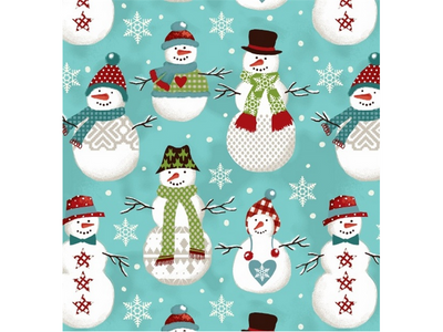 Premium Anti-Pill Folk Snowmen Fleece F566