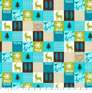 Anti-Pill Winter Patchwork Teal Green Fleece F508