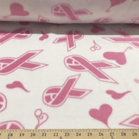 Anti Pill Pink Ribbons Hearts Fleece 91