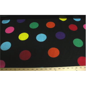 Polka Dots Black Heavy Weight Fleece F577