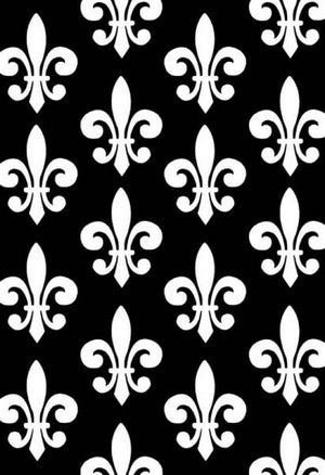 Anti-Pill Fleur De Lis Black White Fleece F1295