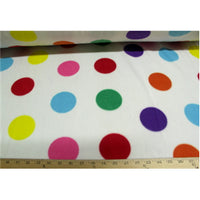 Polka Dots White Fleece F578 Minor color runs on white portion