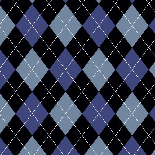 Premium Anti-Pill Classic Argyle Blue Fleece F1434