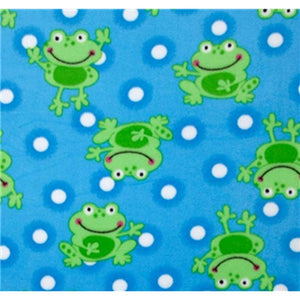 Anti-Pill Frogs Polka Dots Blue Fleece F1147