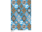 Premium Anti-Pill Skull Boy Argyle Blue Fleece F1429