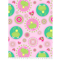 Anti-Pill Cute Frogs Dot Pink Fleece F903