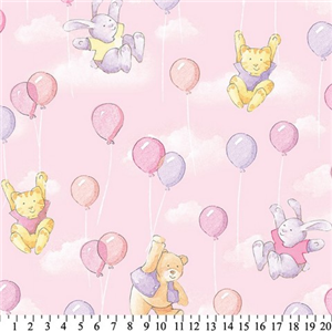 Premium Anti-Pill Balloons Bears Cat Bunny Pink Fleece F1406