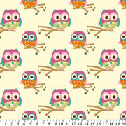 Anti-Pill Owls On Branches Cream Fleece F1253