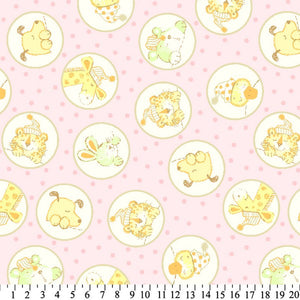Anti-Pill Baby Animals In Circles Pink Fleece F1264