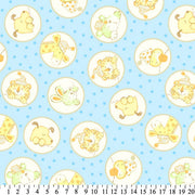 Anti-Pill Baby Animals In Circles Blue Fleece F1271