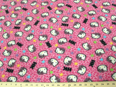 Anti-Pill Hello Kitty Leopard Hot Pink Fleece F380