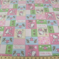 Anti-Pill Hello Kitty Patchwork Pink Multi Colored Fleece F785