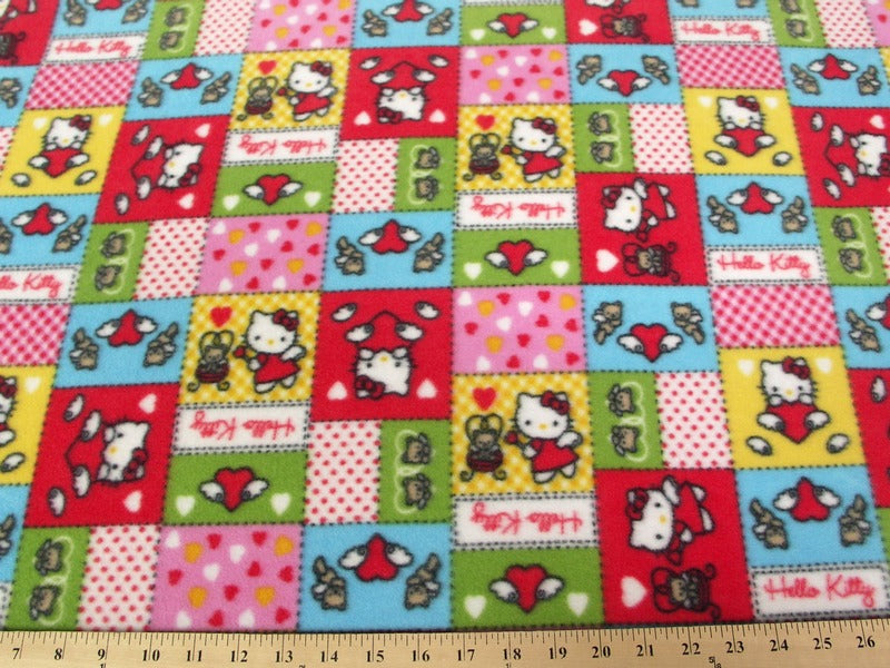 Anti-Pill Hello Kitty Patchwork Red Multi Colored Fleece F704
