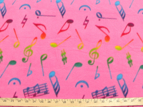 Premium Anti-Pill Hot Pink Multi Colored Music Notes Fleece A50