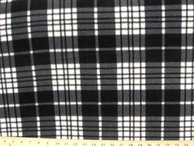 Anti-Pill Charcoal White Plaid Fleece F1329