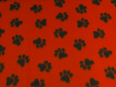 Paw Prints Med Red Paws Fleece F346