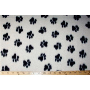 Paw Prints Med White Fleece F997