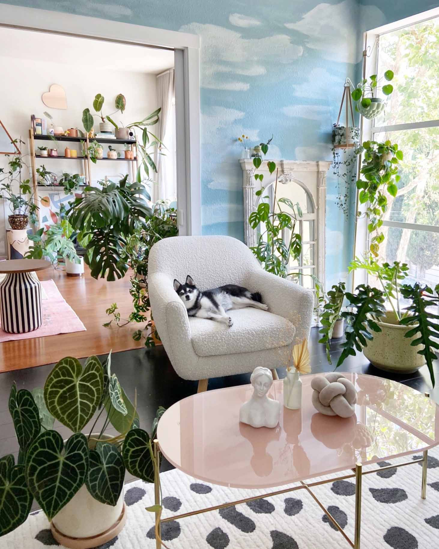 With painted clouds and tons of greenery, this living room is brimming with ideas for indoor plant decor. Step inside and prepare to be mesmerized!