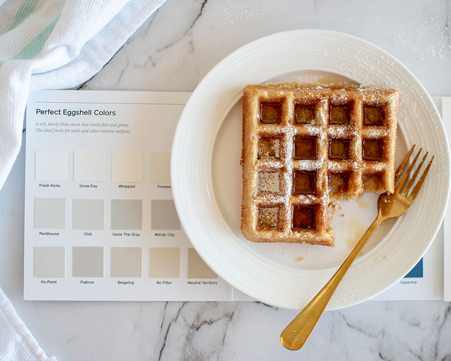 Looking for a sweet treat to snack on while you tackle your weekend errands? Take a note from this chef and bake while you pick your paint colors! Featured here are paint samples by Clare.