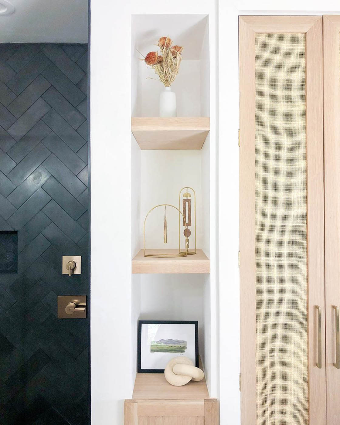 This bathroom remodel before and after has clever DIY projects hiding everywhere you look — including cane cabinets and more.