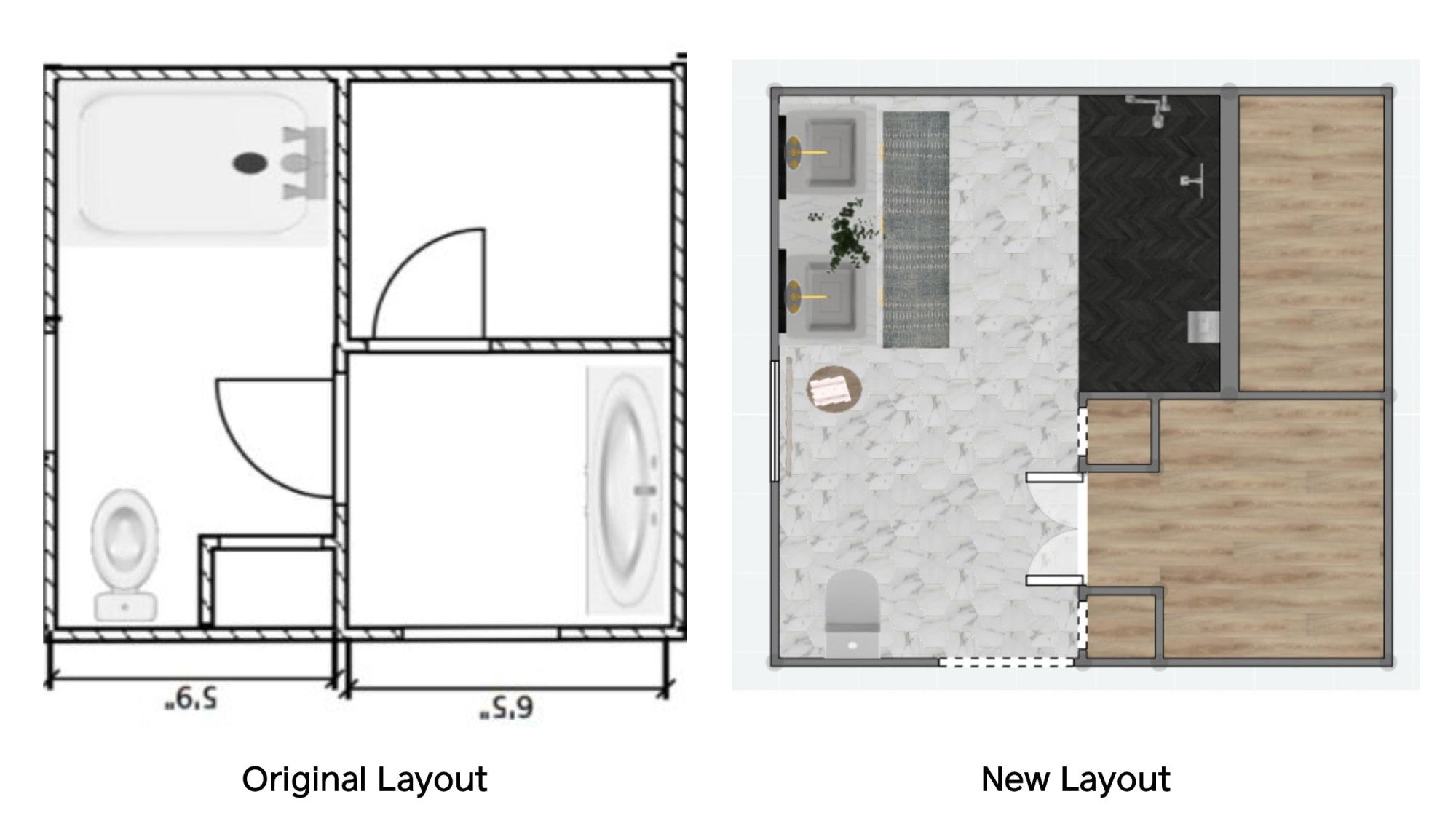It wouldn't be a complete bathroom remodel before and after without a new floor plan. Here's how a DIY-savvy couple totally restructured their once-dated '90s bathroom.